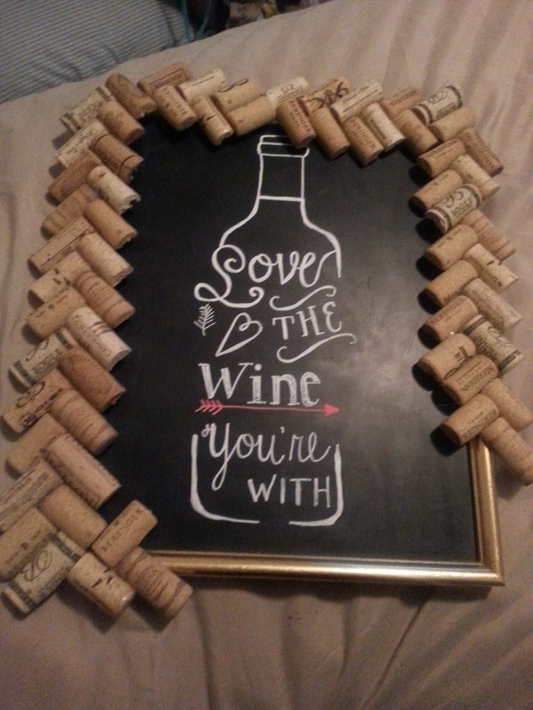 Chalkboard diy wine art quote a dash of sarah blog for How to cut glass bottles lengthwise